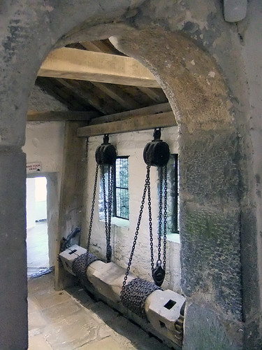 Pulley of chains to pull the gate up and down at Cahir Castle in Ireland