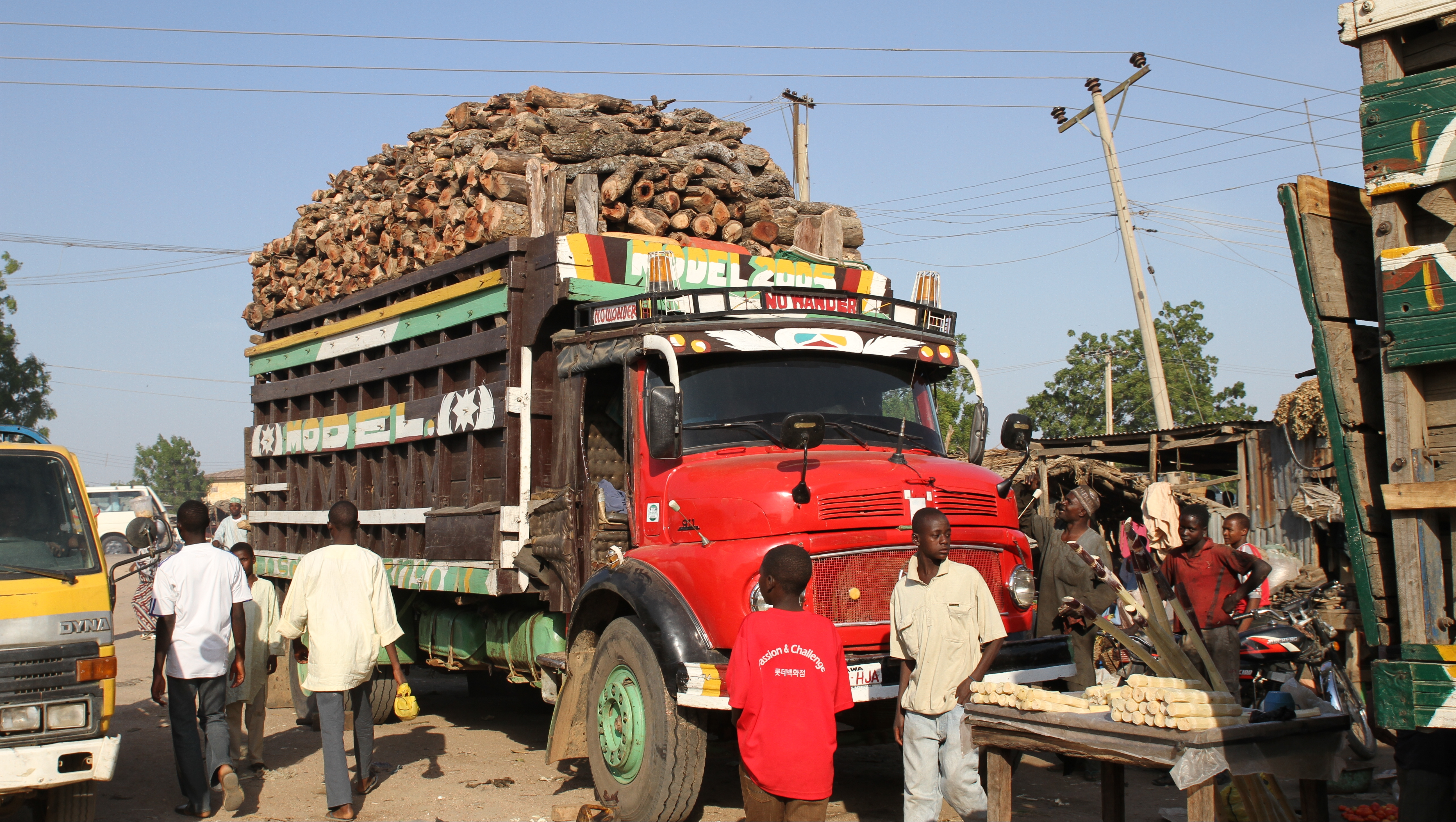A lorry loaded with fuelwood in urban Kano.
