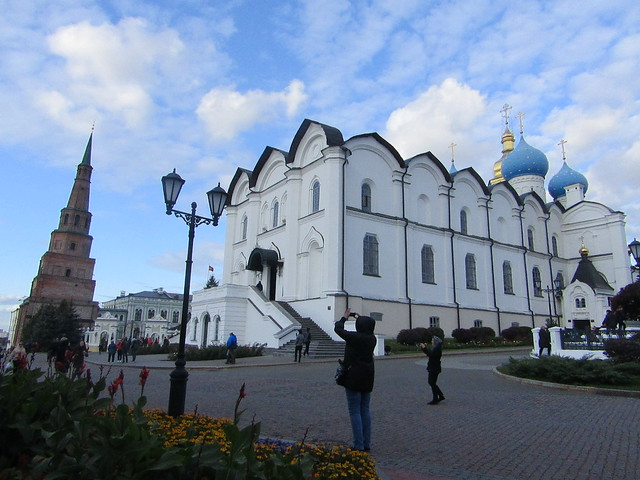 a falling tower ( Kazan Kremlin Suyumbike Tower ) and the Annunciation cathedral