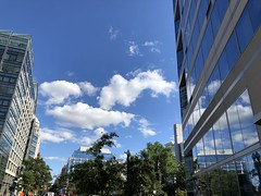 Sky with fleecy clouds, Pennsylvania Avenue and 19th Street NW, Washington, D.C.