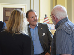 Rep. D'Amelio talks with constituents following a bridge dedication ceremony honoring Tom Conway for his service to Waterbury and the state.