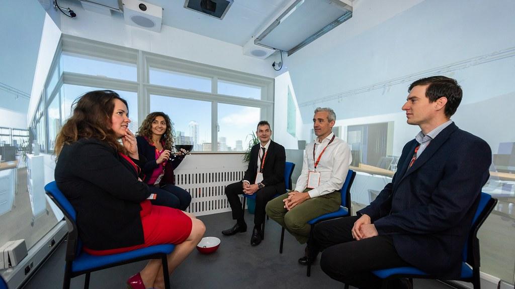 Guests and University of Bath staff inside the VSimulators platform