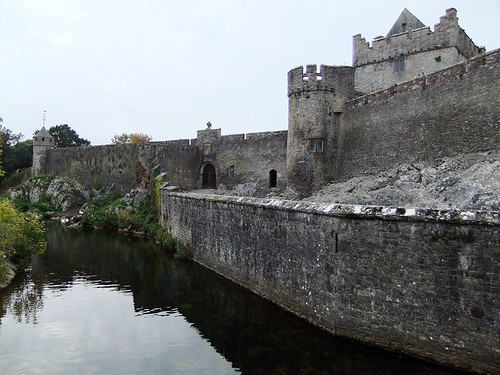 The moat at Cahir Castle in Ireland