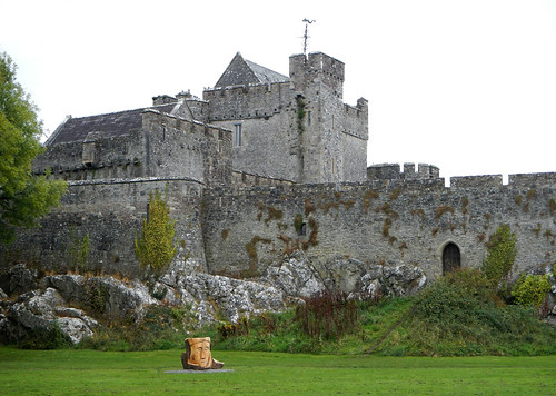 Wood sculpture in the park area that surrounds Cahir Castle in Ireland