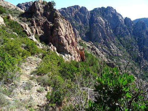 Le  chemin sous le col de Monte Bracciutu