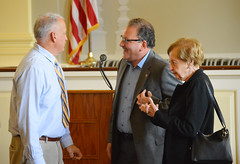 Rep. D'Amelio talks with Mr. Conway's family following a bridge dedication ceremony honoring Tom Conway for his service to Waterbury and the state.