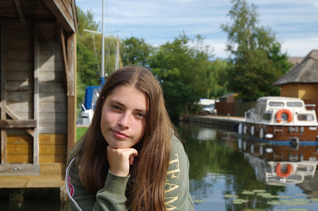 My Phoebe by our Norfolk Boathouse, on the River Bure Horning....