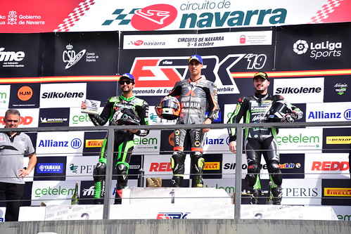 2.Maxi Scheib - 1.Alejandro Medina - 3.Christophe Ponsson, ESBK, Campeonato de España de Superbike, Los Arcos 2019