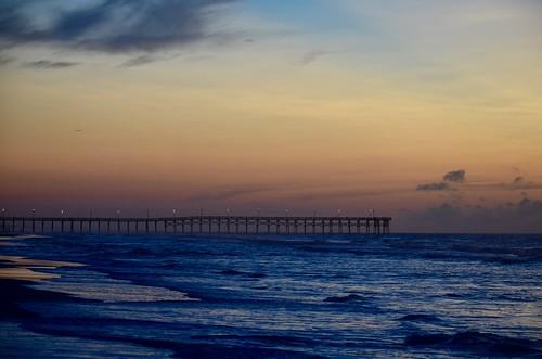 topsailisland topsailbeach topsail jellyrogerpier pier beach sea sunrise sky northcarolina usa waves