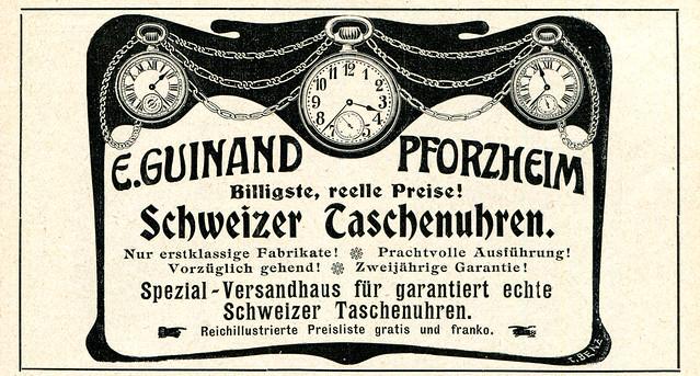 Werbeanzeige desr Uhrenfirma E Guinand, 1906