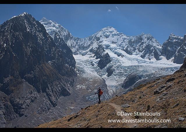 Descending from Santa Rosa Pass towards Sarapo Glacier on the Cordillera Huayhuash circuit, Ancash, Peru