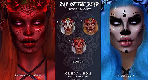 NEW GIFT INWORLD ! Tp below ❣️ Shop Hoodlem ! http://maps.secondlife.com/secondlife/Bloom/163/156/40 #secondlife #sl #halloween #dayofthedead #slavi #tattoos #slife #secondlifeonly #hoodlemink