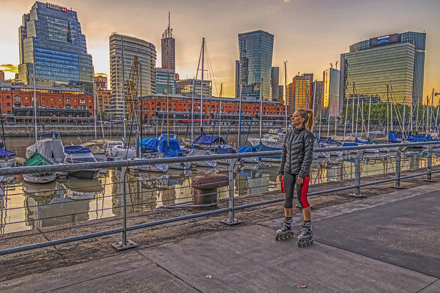 Rollerblading in Puerto madero