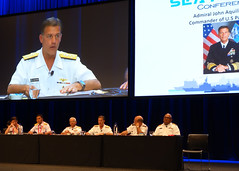 Adm. John C. Aquilino, commander of U.S. Pacific Fleet, delivers remarks during a panel at the Royal Australian Navy's Sea Power Conference, Oct. 8. (U.S. Navy photo)