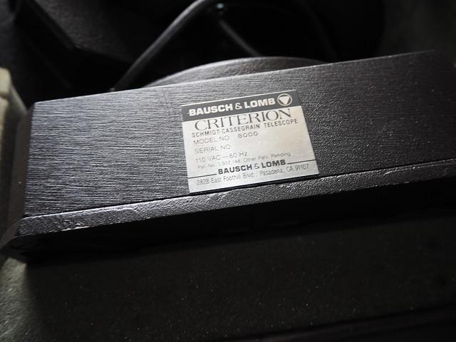 SA095410 SBAU Bosch & Lomb 8000 8 inch SCT fork mount Criterion Schmidt-Cassegrain serial #10178 Pasadena nameplate