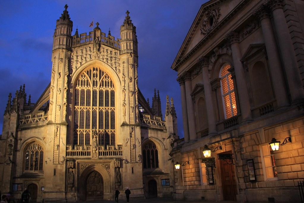 Bath Abbey during shot during blue hour, Bath