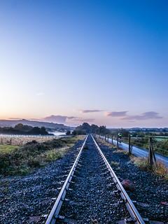 Train track autumn perspective