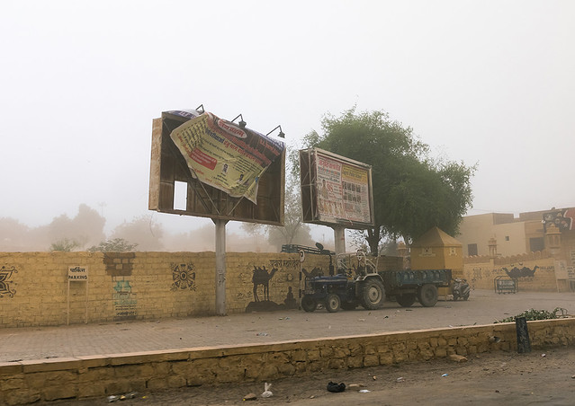 Sand storm in the city, Rajasthan, Jaisalmer, India