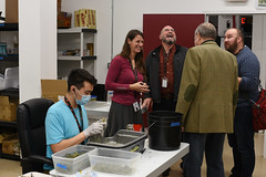 Congressman Don Young tours a Raspberry Roots processing room. October 2019