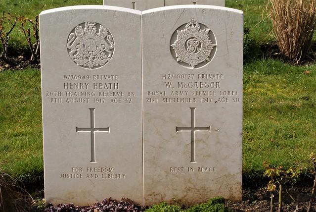 H. Heath, Training Reserve & W. McGregor, Army Service Corps, War Grave, 1917, St. Albans