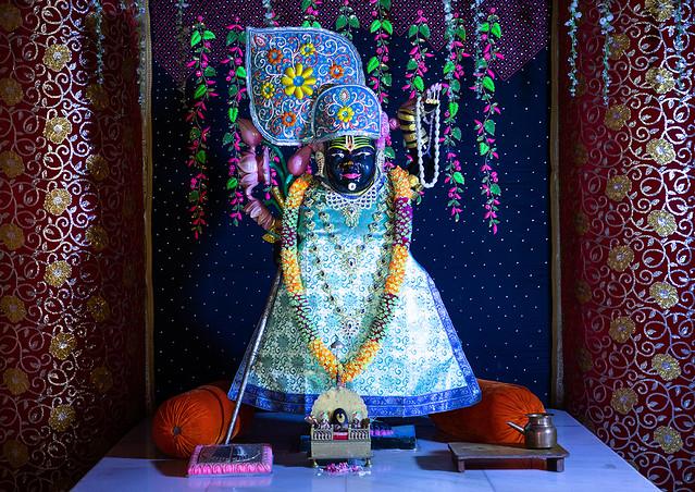Religious idol statue in Giriraj dharan mandir, Rajasthan, Dausa, India