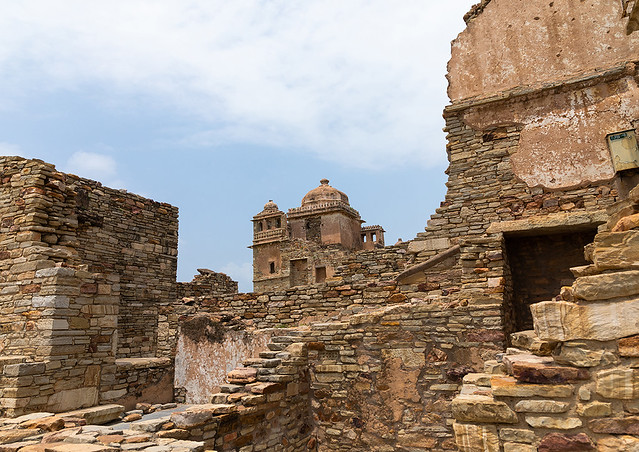 The ruined rana kumbha palace inside the medieval Chittorgarh fort complex, Rajasthan, Chittorgarh, India