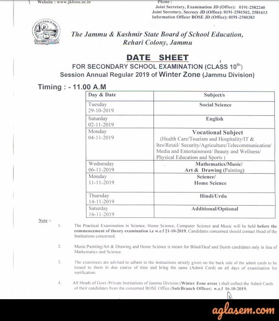 JKBOSE 10th Annual Date Sheet Jammu Division (Winter Zone)