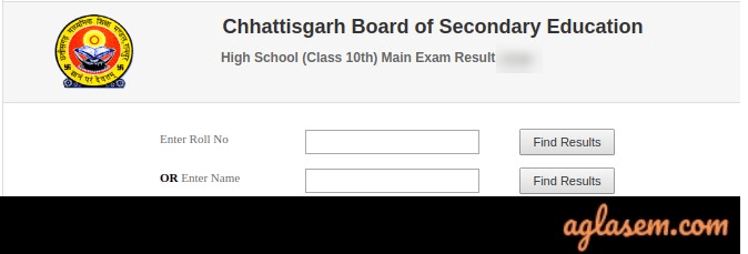 CGBSE 10th name wise result 2020