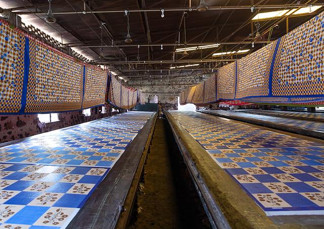 Textiles being printed inside a saree factory, Rajasthan, Sanganer, India