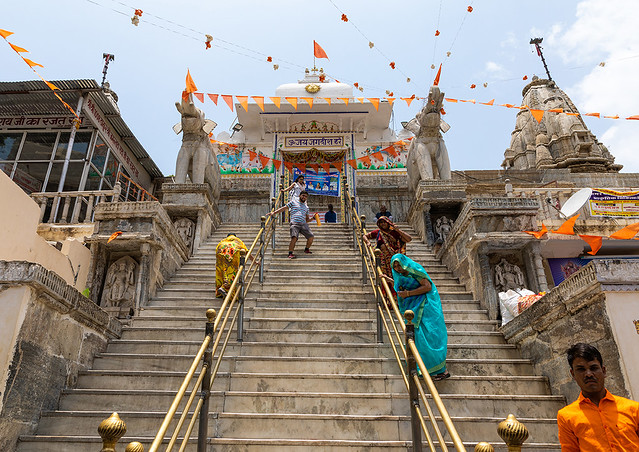 Stairs leading to a temple, Rajasthan, Udaipur, India