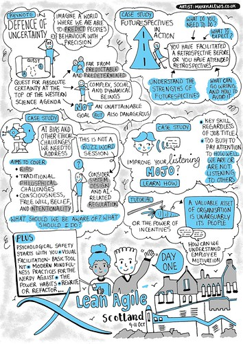 Sketchnote conference programme for Lean Agile Scotland 2019 (drawn by Dr Makayla Lewis) | by maccymacx