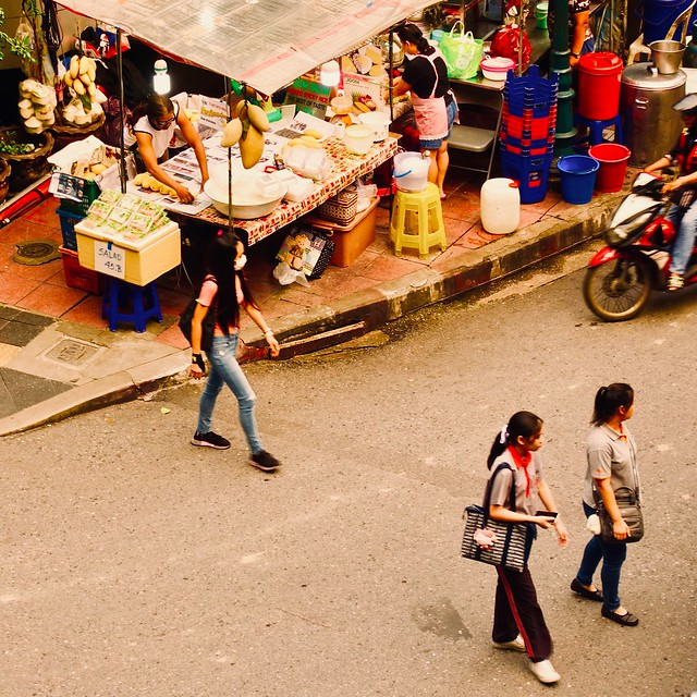 Crossing the Bangkok streets.