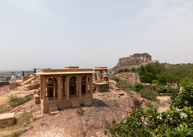 Jaswant thada mausoleum with Mehrangarh fort, Rajasthan, Jodhpur, India