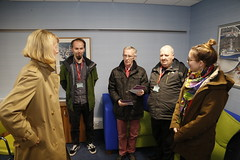 Leslie Evans meeting the Victoria Art team before viewing the new mural