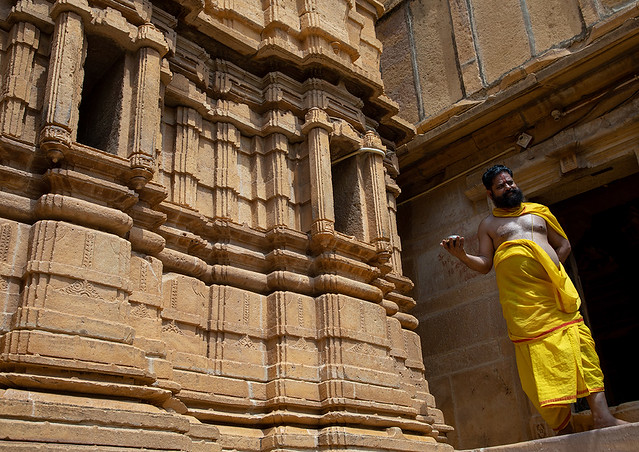 Indian priest in jain shree chandraprabhswami temple, Rajasthan, Jaisalmer, India