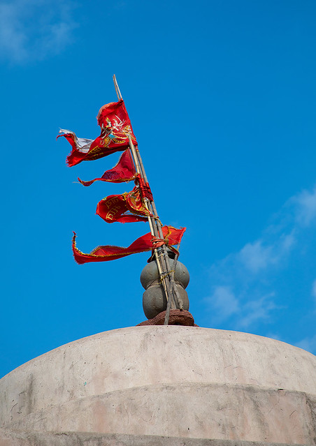 Flag on Harshat Mata temple, Rajasthan, Abhaneri, India