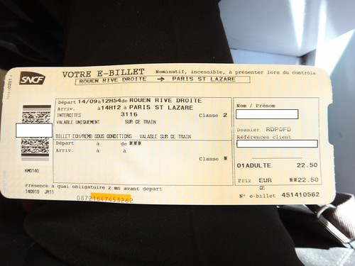 Ticket of SNCF