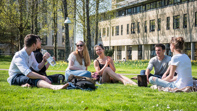 Group of students sitting on grass on campus