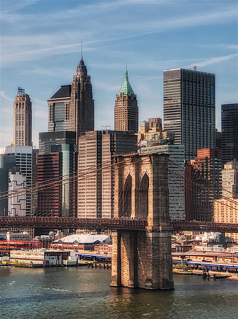 Panoramic View of Downtown NYC, Waterfront, Brooklyn Bridge and Architecture