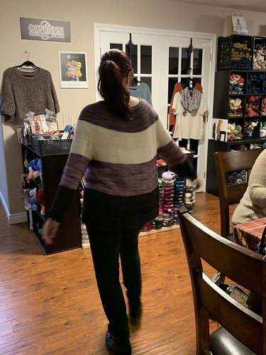 Angela finished her very first sweater and did a beautiful job  and looks fabulous on her! Gracious by Espace Tricot knit with Madelinetosh Tosh Merino Light.