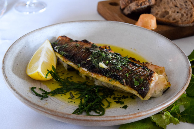 Baked Samphire and Sea Bass at Squerryes Vineyard and Winery