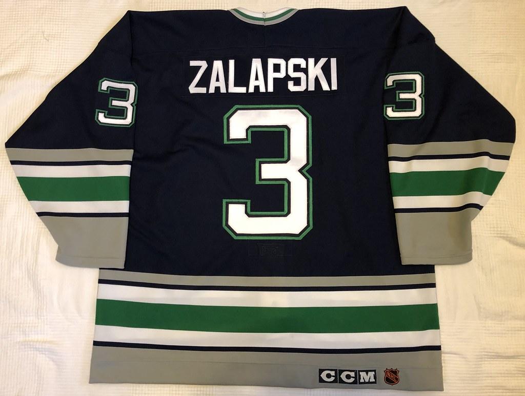 1992-93 Zarley Zalapski Hartford Whalers Away Jersey Back