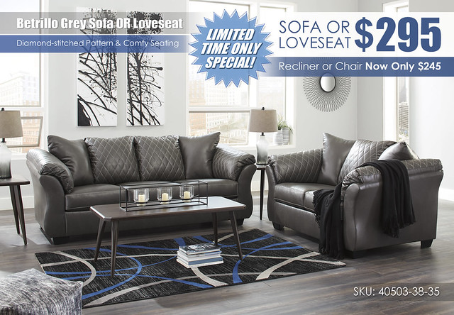 Betrillo Grey Sofa OR Loveseat Special_40503-38-35-T037
