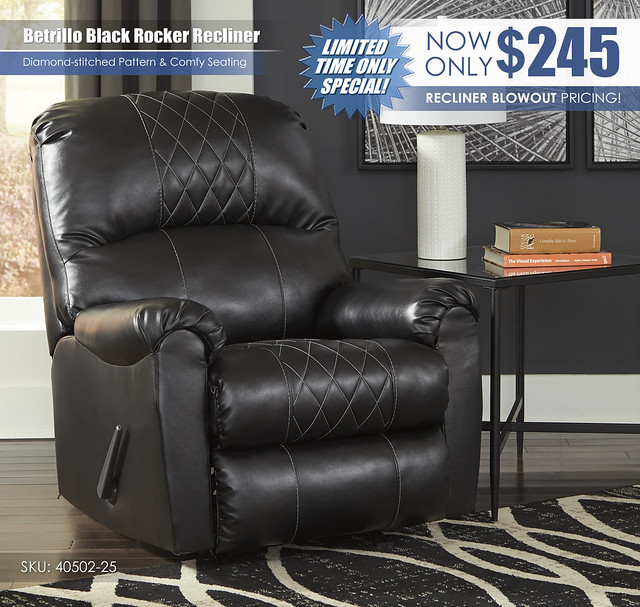 Betrillo Black Rocker Recliner_40502-25