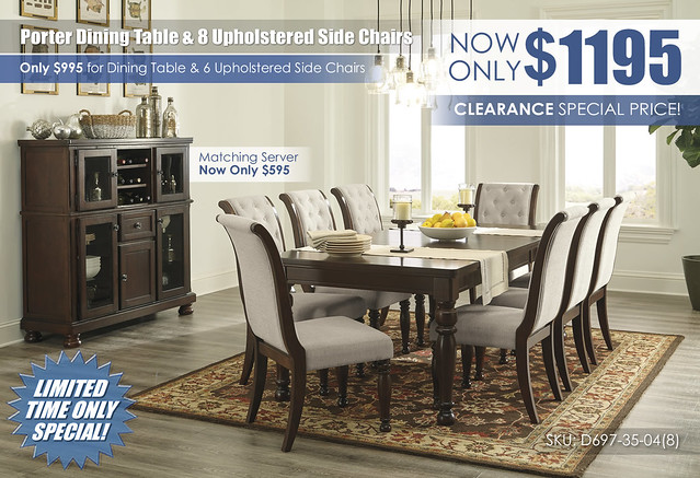Porter Dining Table & 8 Upholstered Side Chairs_D697-35-04(8)-76