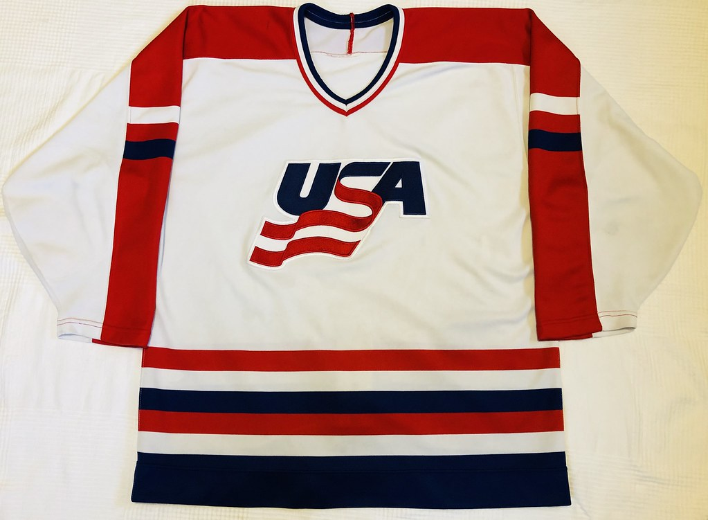 1991 Canada Cup Team USA White Jersey Front