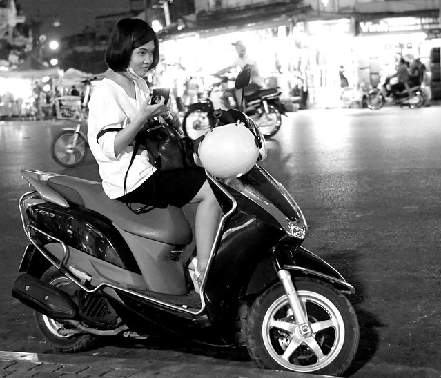 Nocturnal Scooter Girl Hanoi