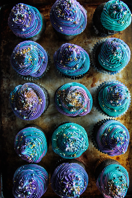 Galaxy Cupcakes (Gluten-free and Vegan) from HeatherChristo.com