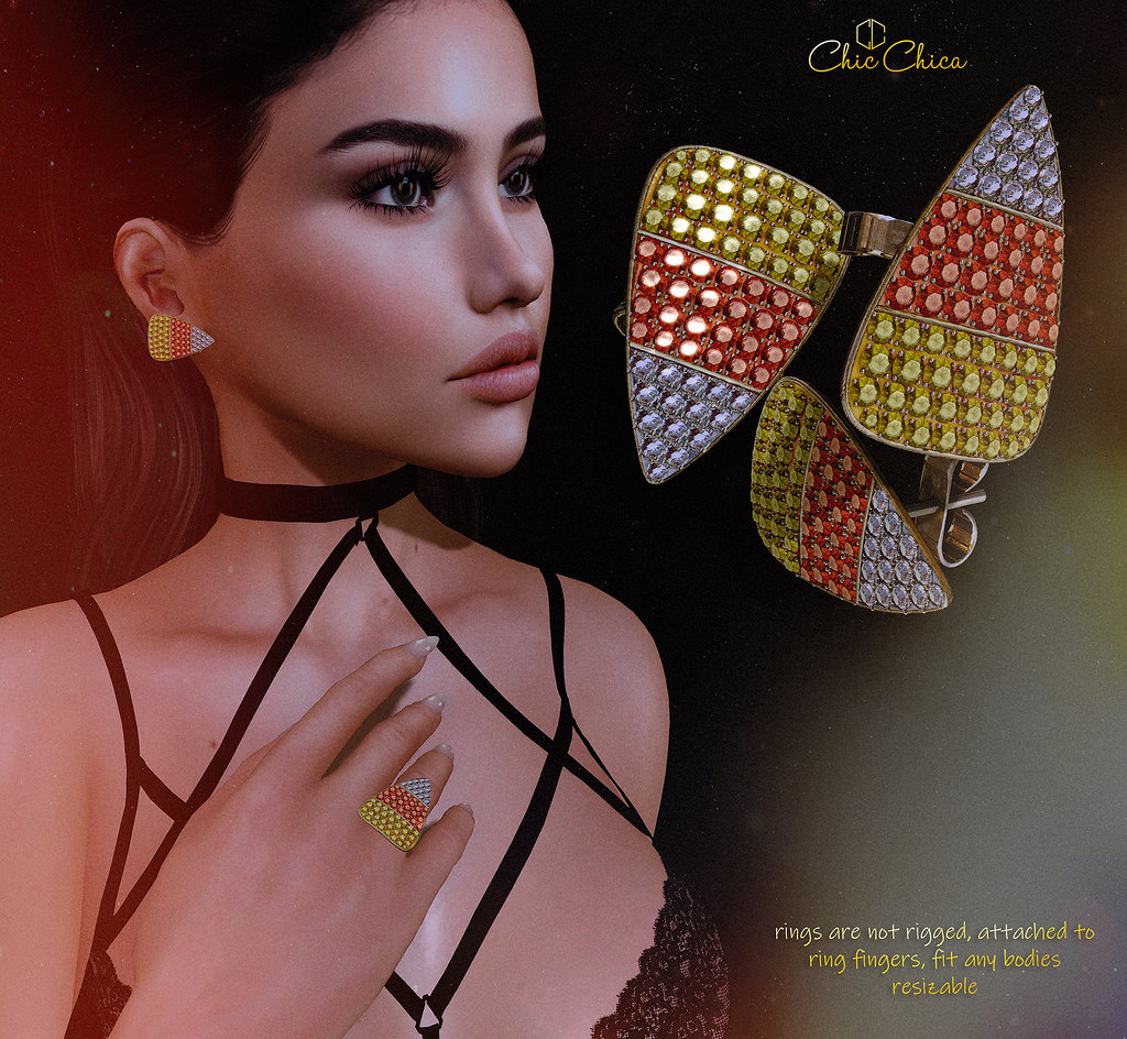 Candy corn earrings and rings by ChicChica @ Hell's Gate