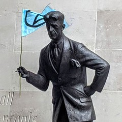 The Extinction Rebellion protesters gave Orwell his own flag outside the BBC today.